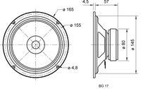 "Visaton BG 17 - 8 Ohm -16 cm (6,5"") Breitbandlautsprecher NE46140"