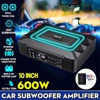 8'' 600W Auto Untersitz Subwoofer Aktiv Bassbox mit Kabelset kompakt Kfz DE