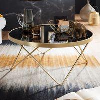 WOHNLING Couchtisch Ø 82 cm Schwarz / matt Gold Beistelltisch Metall/Glas   Tisch mit Glasplatte   Ablagetisch modern   Großer Wohnzimmertisch   Glastisch mit Metallgestell