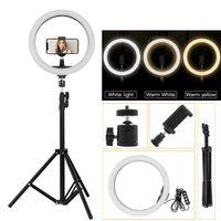 """10"""" 26cm LED Ringlicht Ringleuchte Dimmbar Makeup Licht mit Handy Stativ 3 Farben"""