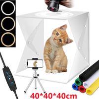 Fotostudio Set 40 x 40 x 40cm USB LED-Fotobox Lichtbox Lichtwürfel Profi Fotografie Lichtzelt inkl. 3 Farben Lichter,6 Farben Hintergrundtuch