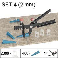 Fliesen Nivelliersystem, Verlegesystem, Verlegehilfe, Set 4 (2000 Laschen, 400 Keile, Zange), 2 mm