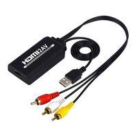HDMI zu RCA, HDMI zu AV Konverter, 1080P HDMI zu 3RCA CVBS AV-Composite Video Audio Converter Adapter Schwarz HDMI-Cinch-Wandlerkabel Stil 3