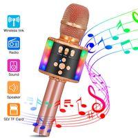 Bluetooth Karaoke Mikrofon, SGODDE tragbare drahtlose Handmikrofon mit Dynamisches Licht für Kinder und Erwachsene, mit Lautsprecher Aufnahme Radio, für Geschenk/Sprach/KTV/Party, für Android/IOS, PC