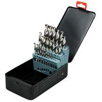 ECD Germany Spiralbohrer Set Metall - 25-tlg. 1-13 mm HSS-G Metallbohrer Set - Bohrerkassette für Drehbohrmaschinen und Schlagbohrmaschinen