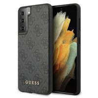 Guess 4G Collection Samsung Galaxy S21 G991B Grau Kunstleder Hard Case Cover Schutzhülle Etui
