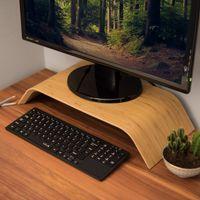 kalibri Bildschirm Holzständer TV Ständer - Computer Tisch Schreibtisch Aufsatz Monitorständer Bank - Schreibtischaufsatz aus Bambus in Hellbraun