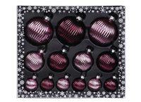 Weihnachtskugeln Ribbel Mix Glas, 13er Set, Farbe:Berry Kiss ( glanz )