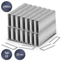 TROTEC Tackerklammern-Set Typ 55 Heftklammern Klammern Tacker 25 mm Länge / 6 mm Breite (2000 Stück) Stahl