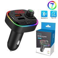 Bluetooth 5.0 FM Sender Drahtloses Auto MP3 Player Car Kit Freisprecheinrichtung mit Siebenfarbiges RGB-Atmosphärenlicht
