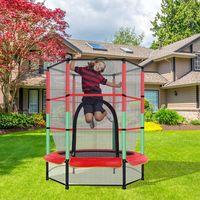 Trampolin Gartentrampolin Kinder Indoortrampolin Outdoor Trampolin mit Sicherheitsnetz 140x160cm (Rot)