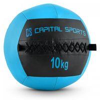 CAPITAL SPORTS Epitomer - Medizinball , Wall Ball , Fitness Ball , Krafttraining , Ausdauertraining , Functional Training , vernähtes Kunstleder , griffige Oberfläche , Farbe: blau , Gewicht: 10 kg
