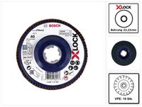 Bosch 10x Fächerschleifscheibe X571 X-LOCK Best for Metal 125x22,23mm K40 ( 10x 2608619209 ) gerade Ausführung