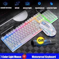MECO Bunt LED Tastatur und Maus Gaming Computertastatur-Set Mauspad Beleuchtete Mechanisch weiss