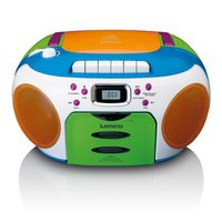 Lenco Tragbares Kinderradio SCR-971, Kassettenrecorder, CD-Player, Farbe: Bunt