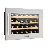 Klarstein Vinsider 24D - Weinkühlschrank, Getränkekühlschrank, Mini-Kühlschrank, 3 Holzeinschübe, Temperatur einstellbar, 1 Kühlzone, LED-Innenbeleuchtung, 24 Flaschen, Edelstahl, silber