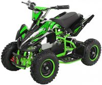Kinderquad Racer 1000, Pocket-Quad mit 1000 Watt Elektromotor, 3 Batterien, Stoßdämpfer, bis 25 km/h (Schwarz/Grün)