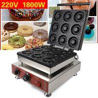 9 Slots Donutmaschine Donut Baker Maker Maschine 9cm Kommerziell Verwendung Antihaft 1.8kW 220V EU