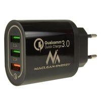 QC 3.0 Universal USB-Ladegerät 3xUSB Ladeadapter Netzteil mit Schnellladefunktion Adapter 1x Quick Charge 1x QC3.0 bis 3A, 2x 2.1A Schwarz