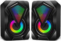 PC Lautsprecher 3W Mini Desktop Lautsprecher mit buntem LED Licht Stereo 2.0 USB-betrieben 3.5mm Tragbarer Multimedia für Computer