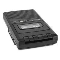 auna RQ-132 USB - Kassettenrekorder , Tonbandgerät , Diktiergerät , Tape Recorder , verbauter Lautsprecher , automatische Abschaltung , USB-Port , Netz- und Batteriebetrieb , portabel , schwarz