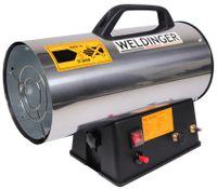 Gasheizkanone 13,3 kW Edelstahl mit Piezozündung Set mit Schlauch + Regler WELDINGER