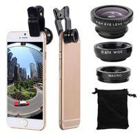 3 in 1 Universal Clip-on Fischauge Weitwinkel Makro Objektiv Kamera Telefon Tablet Silber