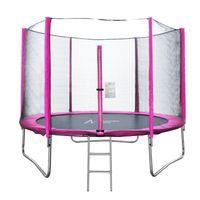 Ultrapower Sports Ø 305 cm in Pink Outdoor Gartentrampolin Kindertrampolin Komplettset, inklusive Sprungtuch aus USA-Mesh, Sicherheitsnetz, Randabdeckung, Einstiegsleiter