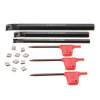7/10/12mm 3 STÜCKE Schaftdrehmaschine Bohrstange Drehen Werkzeughalter Drehmeißel mit Wendeplatte und CCMT0602 Insert Drehwerkzeug