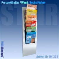 Wandprospekthalter STAIR / Display mit sechs Fächern