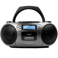 Aiwa BBTC-550MG GRAU Tragbarer Mp3 CD Player mit Radio, Kassette, Bluetooth und USB, CD-Spieler, CD-Player, MC, UKW mobil, unterwegs