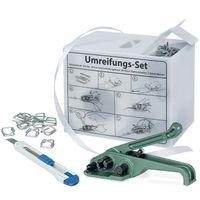Mobiles Umreifungs Komplett-Set, 200 m Polyesterband Breite 16 mm, 80 Verschlussklammern, Cuttermesser und Band-Spanngerät