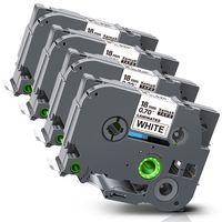 Xemax 4x kompatibel Schriftband für Brother TZe-241 TZe241 für P-Touch 1000 1750 1800 D400 D450 D600 210E 2730 2400, Schwarz auf weiß Ersatz 18mm