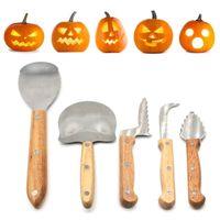 Kuerbis-Schnitz-Kit fuer Halloween Jack-O-Laternen Schneiden Bildhauerei Werkzeuge 5 Stueck Edelstahl Carve Skulptur Werkzeuge Set