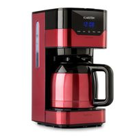 Klarstein Arabica Kaffeemaschine , 1,2 Liter Fassungsvermögen , bis 12 Tassen ,Permanentfilter , EasyTouch Control , Thermoskanne , Tropffrei Funktion , wählbare Kaffeestärke , 24-Stunden-Timer , 800 Watt , rot/schwarz