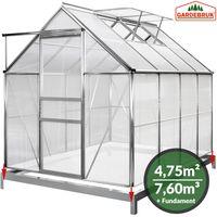 Gardebruk Aluminium Gewächshaus 4,75m² mit Fundament 250x190cm Treibhaus Gartenhaus Frühbeet Pflanzenhaus Aufzucht 7,63m³
