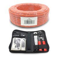 ARLI Cat7 Verlegekabel 50 m Netzwerkkabel + Werkzeug Set inkl. Crimpzange + LSA + Tester + Messer