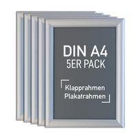 5 Stk. Aluminium Klapprahmen silber, Plakatrahmen, Wechselrahmen (DIN A4)