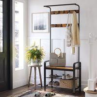 VASAGLE Garderobenständer mit 3 Ablagen 183 x 72 x 33,7 cm Kleiderständer mit 9 Haken und Schuhregal Vintage HSR40B