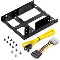 """deleyCON Einbaurahmen Set - für 2X 2,5"""" Festplatten SSD's auf 3,5"""" Adapter Wechselrahmen Mounting Frame Halterung Schienen inkl. Schrauben SATA Kabel und Stromadapter"""