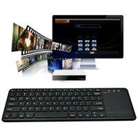 Drahtlos Kabellose Bluetooth-Tastatur Tragbar Wireless Keyboard mit Touchpad Für Smart TV Trackpad-Maus PC Laptop Schwarz