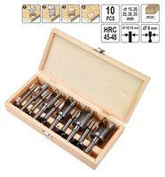 10 Tlg Forstnerbohrer Scheibenschneider Zapfenschneider Topfbohrer Ausbohr- und Auffüllsatz 15-35mm