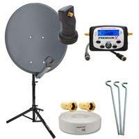 60cm Sat Anlage Anthrazit + Single LNB + Sat-Finder + Stativ + 10 Koaxkabel