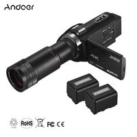 Andoer 4K HD-Digitalvideokamera-Camcorder DV 16X-Digitalzoom 3-Zoll-Touchscreen WiFi-IR-Nachtsicht mit 2 Stueck Batterien + 8X-Teleobjektiv