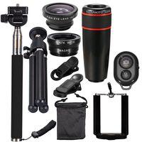 10 STueCKE 12X Tele Universal Handy Objektiv Kits Weitwinkel + Fischauge + Makro Objektiv + Selfie Stick + Stativ fuer Huawei