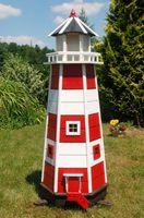 Wunderschöner großer Leuchtturm aus Holz mit Solar Beleuchtung 1,40 m Garten