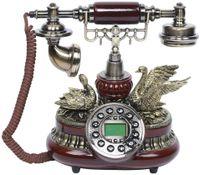 Festnetztelefon Retro Antik Telefon Vintage Deko Schnurgebundenes Festnetz Nostalgie Design Haustelefon mit Wählscheibe Metallklingel