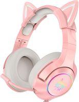 ONIKUMA Gaming-Headset für PS5, PS4, Xbox One (ohne Adapter), Nintendo Switch, PC, mit abnehmbaren Katzenohren, Surround-Sound, RGB-LED-Licht und Teleskopmikrofon mit Geräuschunterdrückung, Pink