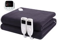 Zilan Heizdecke schwarz mit 10h Timer   für 2 Personen   160x140 cm   5 Temperaturstufen   2x60 Watt  
