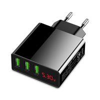 Multi USB Port Ladegerät 3-fach 5V 3A m. LED Display, EU Netzteil Eaxus